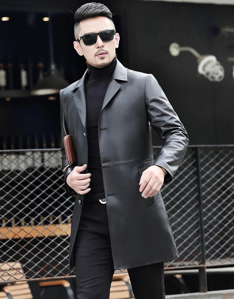 áo khoác măng tô da thật